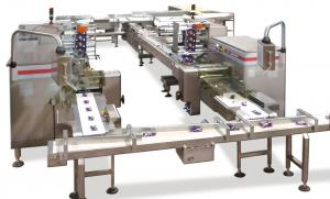 Conditionnement de barres de chocolat, Lignes de conditionnement , RECORD, Machines d'emballage et de conditionnement primaire et secondaire de sachets flow pack